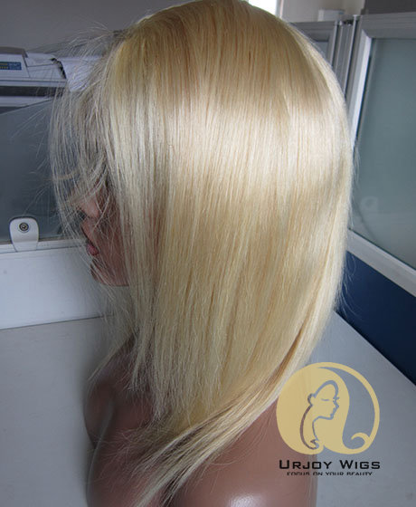 #613 Blonde Brazilian Virgin Hair Full PU Wig with Baby Hair