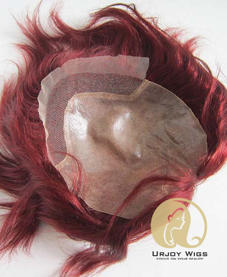 In Stock #99j Wine Red Human Hair Toupee  PU Base with Lace in Front