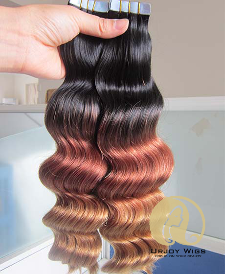 Tape In Human Hair Extensions 40PcsLot Ombre Human Tape Hair Extensions Skin Weft