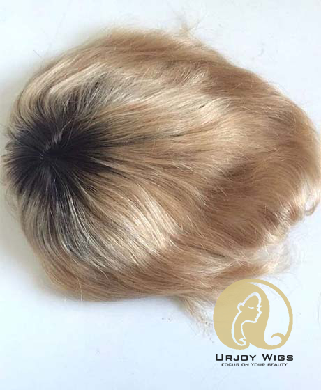 Ombre Human Hair Toupee Full Lace Hair Piece for Men