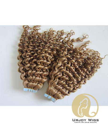 100% brazilian virgin hair skin weft Kinky curly adhesive tape hair extensions