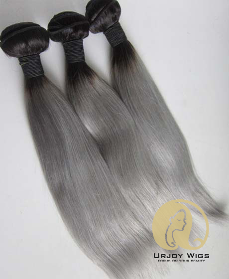 Colored Two Tone Grey Ombre Human Hair Weaves