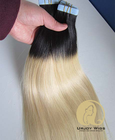 Two tone virgin brazilian hair skin weft Ombre tape hair extensions