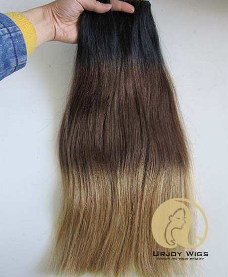 Colored three tone tape in human hair extensions ombre skin weft