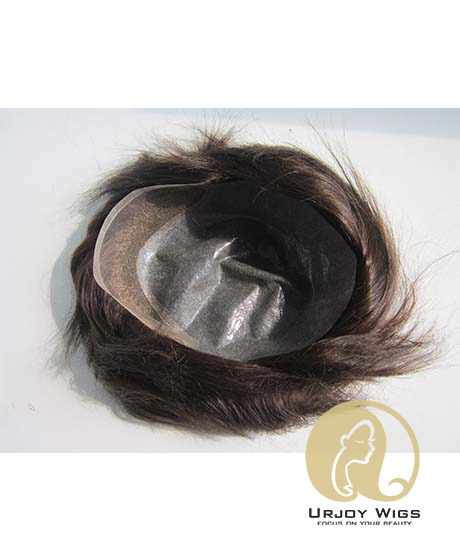 Indian Remy Hair Toupee for Men Thin Skin Base with Lace in Front