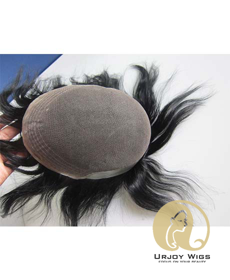 Indian Remy Hair Toupee Lace With PU Hair Replacement