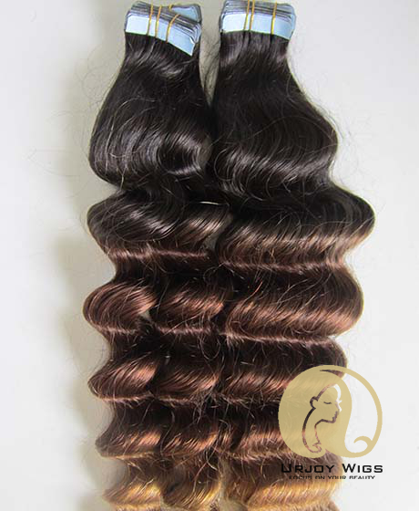 Three tone colored virgin brazilian hair skin weft deep wave ombre tape hair extensions