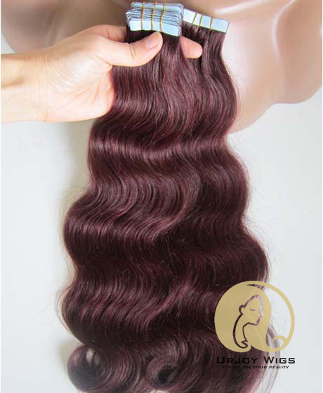 #99 body wave virgin brazilian hair extensions burgundy tape hair extensions
