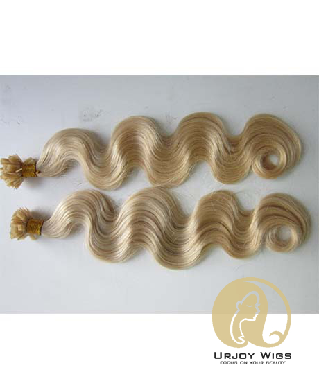 #613 blonde flat tip human hair extensions