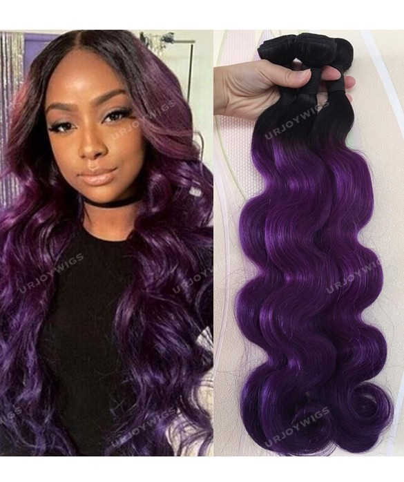 Ombre Purple Hair Body Wave Human Hair Weft