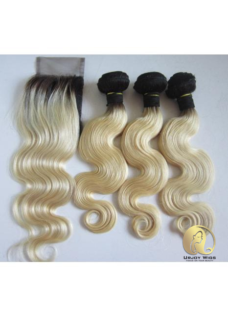Ombre blonde bundles with lace closure two tone colored 4pcs make a full head