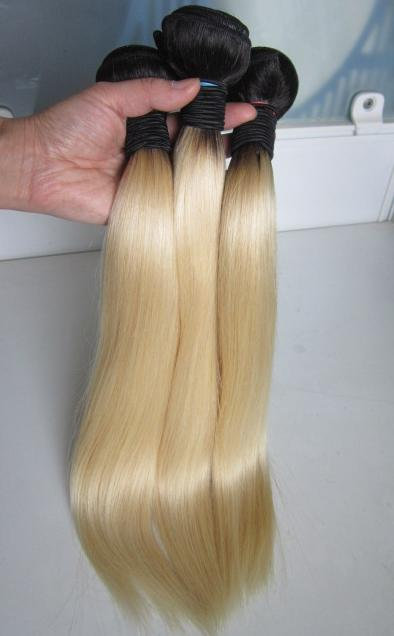 Ombre Blonde Straight Hair Two Tone Brazilian Virgin Hair