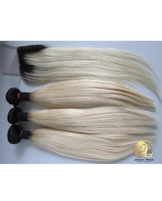 Silky straight ombre blonde hair bundles with lace closure