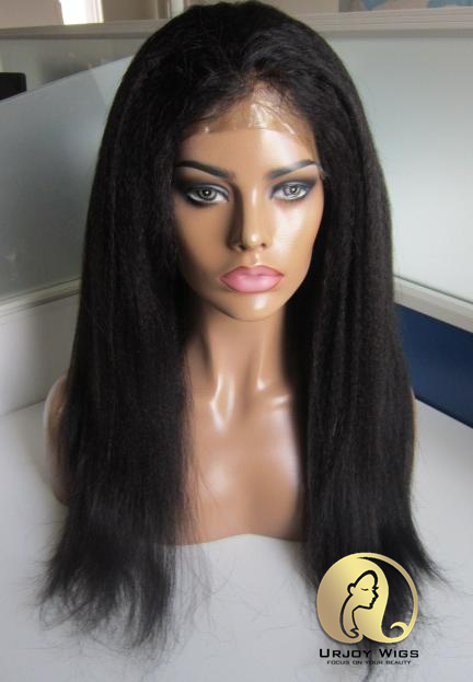 Kinky Straight Full Thin Skin Human Hair Wig with Baby Hair