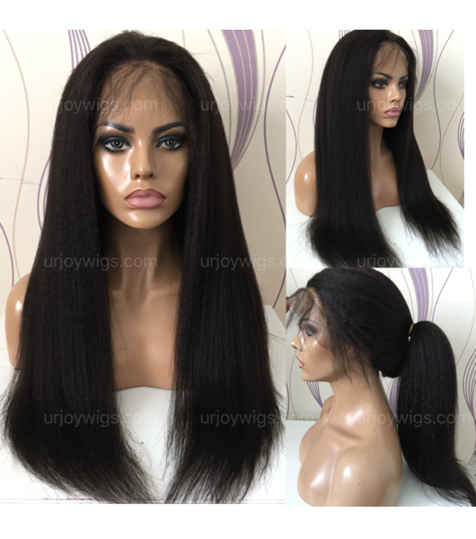 kinky straight 360 lace wigs can make high ponytail top quality