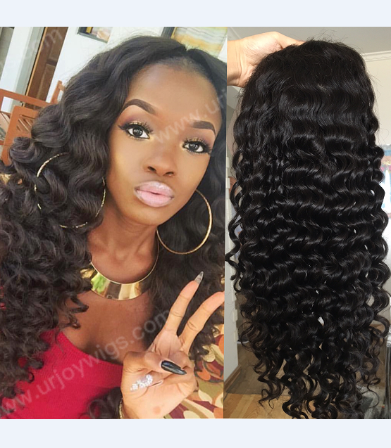 Full lace human hair wig deep wavy
