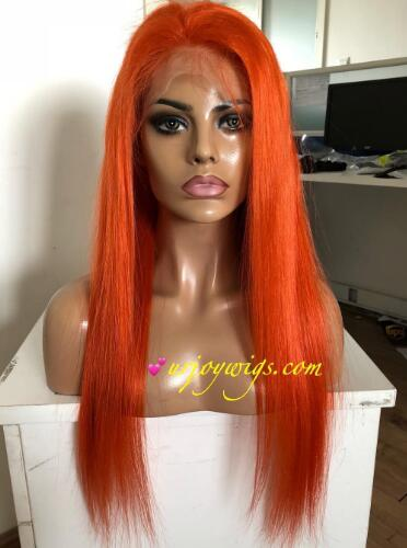 Orange color 100% human hair wigs