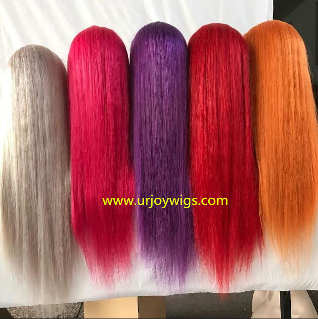 Colorfull lace front wigs 100% human hair wigs fast shipping